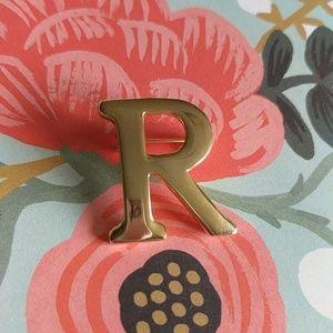 Gold letter R vintage brooch